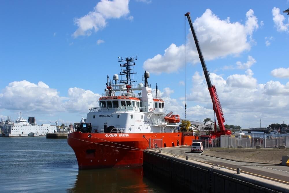 De Glomar Worker is nu vanuit Den Helder als subsea/survey vaartuig actief