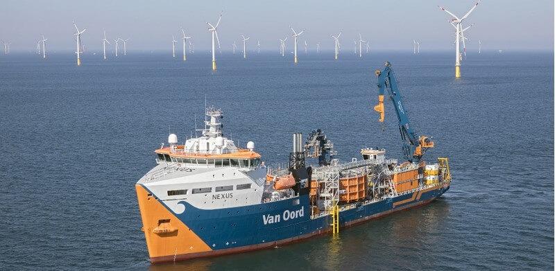 De Nexus heeft zowel in Borssele I en II als Borssele III en IV kabels aangelegd. (Foto: Van Oord)