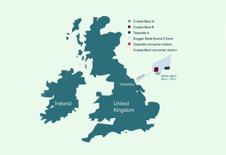 De Dogger Bank windparklocaties met de oude namen Creyke Bank A en Creyke Bank B worden nu onder de namen Dogger Bank A, Dogger Bank B voor de kust van Yorkshire aangelegd. (Afb.: Dogger Bank Wind Farm consortium)