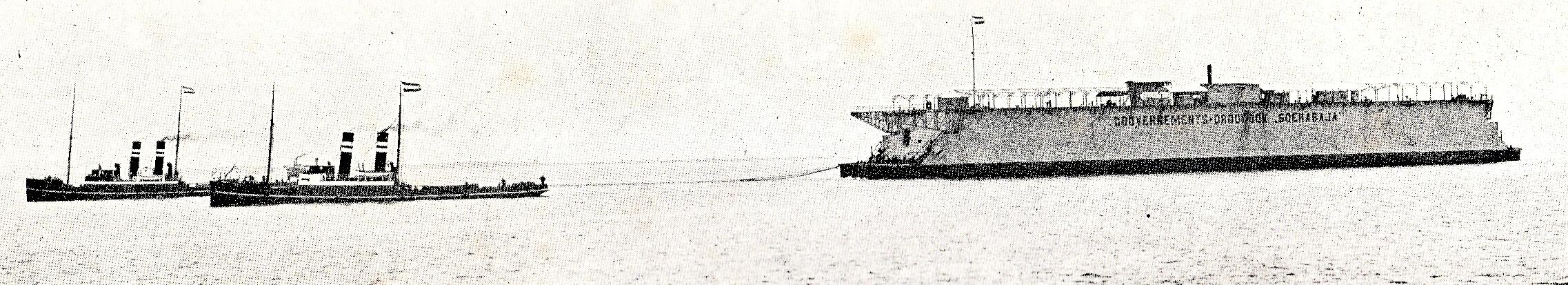 Het vertrek van de rede van Texel met de Atlas en de Titan.